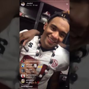 (Jerry Juedy cell video that's titled:)tua tagovailoa Football Players Celebrate in Locker Room After winning 2018 National Championship